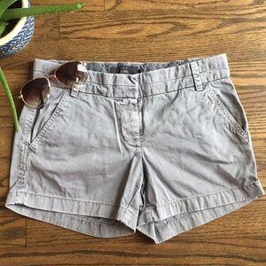 J. Crew gray chino shorts, 3 inch inseam, size 2